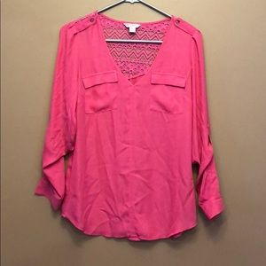 Candies pink roll sleeve blouse